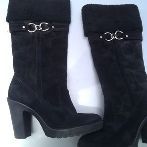 Coach boots black suede